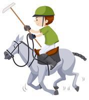 Homem, ligado, a, cavalo, jogando polo vetor