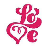 Ame o design de cartão com texto vermelho à moda para a celebração feliz do dia de Valentim. Citação de letras de casamento. Texto vintage de vetor, rotulação frase. Isolado no fundo branco