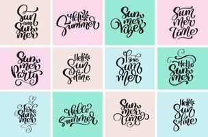 Definir tipográficas olá verão desenhos vetor