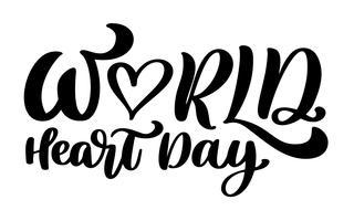 Vector illustration citação de rotulação do mundo coração dia
