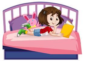 Menina jovem, livro leitura, cama vetor