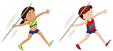 Homem mulher, atletas, para, dardo