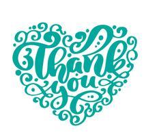 Obrigado texto coração inscrição manuscrita. Citação de casamento mão desenhada letras. Caligrafia de amor Cartão de agradecimento. Ilustração vetorial