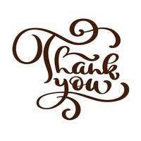 Obrigado inscrição manuscrita de texto. Letras de mão desenhada. Obrigado caligrafia. Cartão de agradecimento. Ilustração vetorial