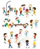 Jogo, de, crianças jogando vetor