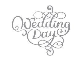 Texto de vetor de dia de casamento vintage em fundo branco