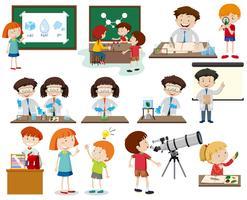 Conjunto de crianças aprendendo vetor