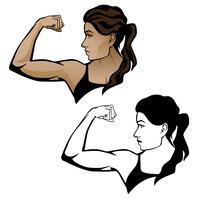 Fitness feminino mulher flexionando ilustração de braço