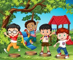 Crianças, tocando, em, a, pátio recreio vetor