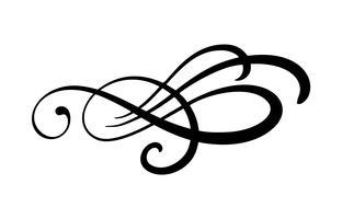 O flourish floral do elemento da caligrafia do vetor, o divisor para a decoração da página e o quadro projetam o gráfico do redemoinho da ilustração. Silhueta decorativa para cartões de casamento e convites. Flor vintage