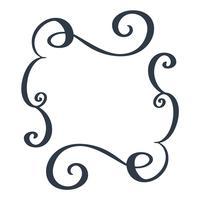 Quadros decorativos e retângulo padrão de fronteira mão desenhada florescer separador Elementos de designer de caligrafia. Ilustração em vetor vintage casamento isolada no fundo branco