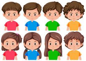 Conjunto de diferentes personagens masculinos e femininos vetor