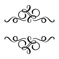 O flourish floral do elemento da caligrafia do vetor, o divisor tirado mão para a decoração da página e o quadro projetam a linha do redemoinho da ilustração. Silhueta decorativa para cartões de casamento e convites. Flor vintage