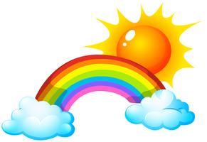 Sol e arco-íris vetor
