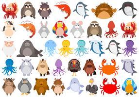 Conjunto de animais dos desenhos animados vetor