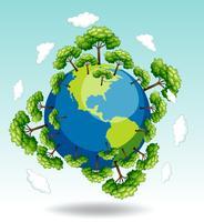 Florestas ao redor da terra vetor