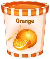 Iogurte laranja em copo vetor
