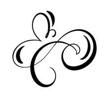O flourish floral do elemento da caligrafia do vetor, o divisor tirado mão para a decoração da página e o quadro projetam o redemoinho da ilustração. Silhueta decorativa para cartões de casamento e convites. Flor vintage