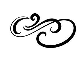 O flourish floral do elemento da caligrafia do vetor, o divisor tirado mão para a decoração da página e o quadro projetam o ornamento do redemoinho da ilustração. Silhueta decorativa para cartões de casamento e convites. Flor vintage