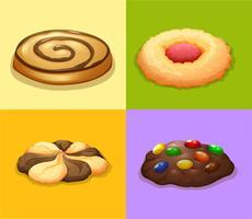 Quatro tipos de cookies vetor