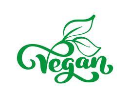 Logotipo da ilustração do vetor do vegetariano, projeto da comida. Letras manuscritas para restaurante, menu de café cru. Elementos para rótulos, logotipos, emblemas, adesivos ou ícones. Coleção caligráfica e tipográfica