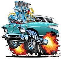 Ilustração do vetor dos desenhos animados do carro do músculo do hot rod dos anos 50 clássicos