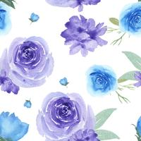 Modele a matéria têxtil luxúria floral sem emenda do vintage do estilo da aquarela, aquarelle das flores isolado no fundo branco. Design de flores decoração para cartão, salvar a data, cartões de convite de casamento, cartaz, banner. vetor
