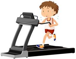 Homem, executando, ligado, treadmill vetor