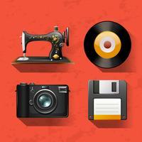 Coleções vintage com máquina de costura e discos vetor