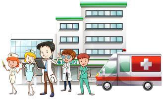 Médicos, e, enfermeira, trabalhando, em, hospitalar