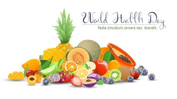 Coleção de frutas para o dia mundial da saúde.