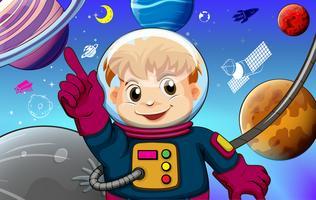 Astronauta com o conceito de planetas vetor