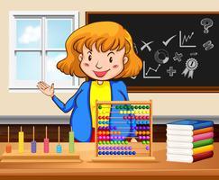 Professor feminino, ensinando, em, a, sala aula vetor