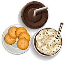 Bebidas em copos descartáveis e um prato com biscoitos vetor