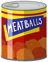 Bolas de carne na lata de comida vetor