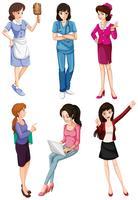 Senhoras com diferentes profissões vetor