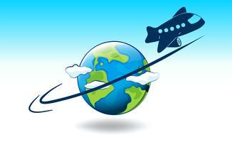 Um globo e um avião vetor
