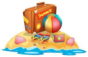 Muitos equipamentos de praia de verão vetor
