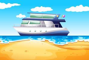 Praia e barco vetor