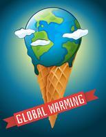 Cartaz de aquecimento global com terra derretendo vetor