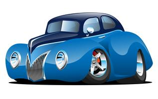 Ilustração em vetor clássico rua Rod Coupe Custom Car Cartoon