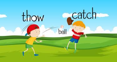 Meninos jogando e pegando a bola no campo vetor