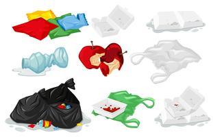 Jogo, de, lixo plástico vetor