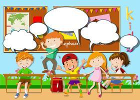 Crianças, tocando, em, sala aula vetor