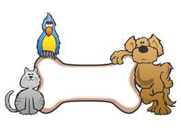 Cão, pássaro e gato com osso Pet sinal Logo Vector Illustration