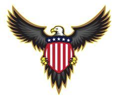 Águia americana patriótica, propagação de asas, segurando a ilustração vetorial de escudo