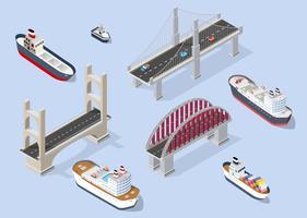 Barco de cruzeiro e navios de guerra