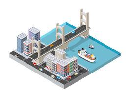Boulevard da cidade com um porto