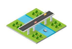 O passadiço da ponte da infra-estrutura urbana é