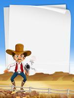 Modelo de papel com arma de tiro de vaqueiro vetor